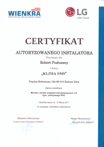 Certyfikat LG RAC 2016