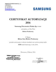 Certyfikat Samsung EHS